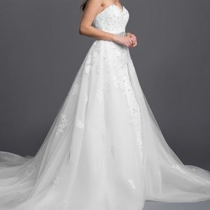 White Mermaid Gown with Detachable Skirt